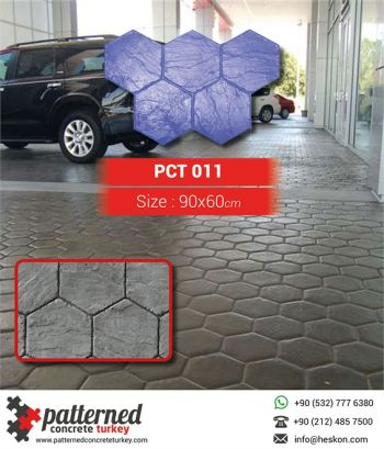 011 Hexagon Italian Slate Patterned Printed Concrete
